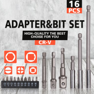 Trusa 16 piese adaptori, prelungitoare si biti CR-V