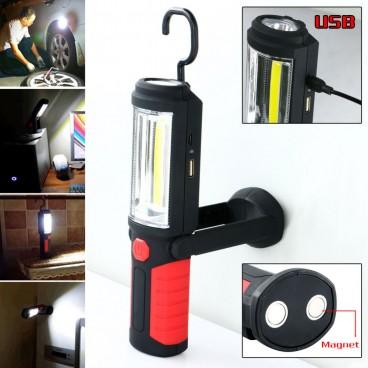Lanterna reincarcabila iluminare dubla 3w COB LED cu prindere magnetica