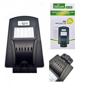 Proiector Stradal , 20 W, Panou Solar , Protectie Umezeala IP65, Senzor de Intuneric